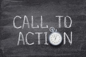 call to action written on a black board with a stopwatch as the O