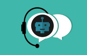 chatbot with a headset on and a speech bubble next to it.