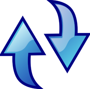 blue arrows, one pointing downward and the other pointing upward.