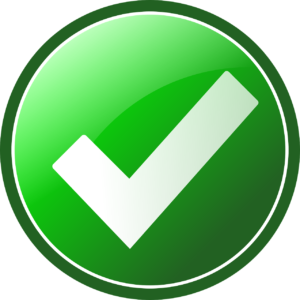 green circle with a white checkmark in the middle