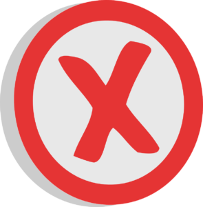 red letter X in a red circle
