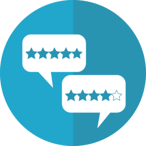 blue circle with two quote bubbles, one with 4 stars and the other with 5 stars