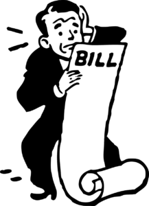 illustration of a man looking at a long bill