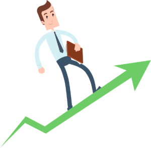 illustratio an of a man in a suit walking up a green arrow going upwards