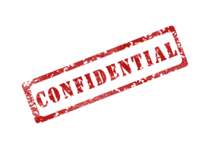 confidential in red with a red rectangle around it