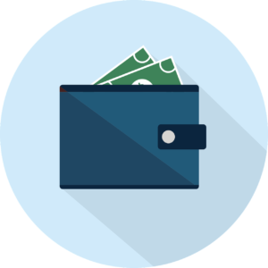 illustration of a blue wallet with money sticking out of it