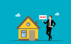 illustration of a man in a suit holding a for sale sign in front of a building