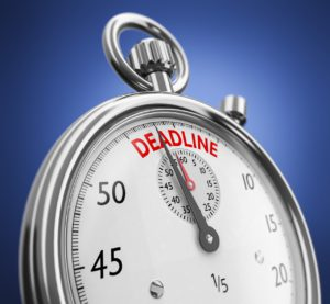 stop watch with the word deadline and the hand approaching it
