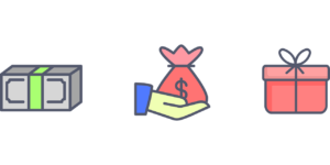 illustration of money ten a hand with money bag and then present