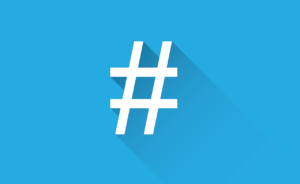 white hashtag with a blue background