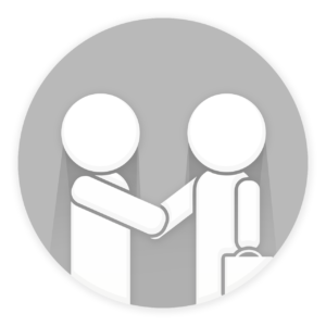 silhouette of two people shaking hands
